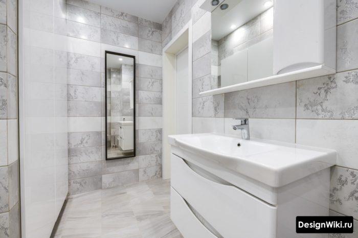 Красивый стильный дизайн плитки для ванной