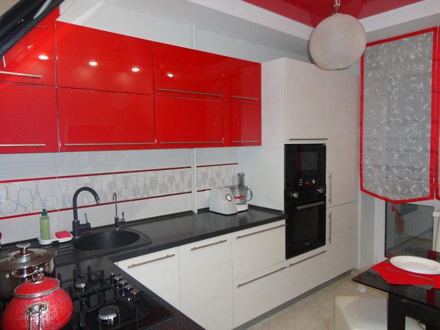 Красный чёрный белый в дизайне кухни