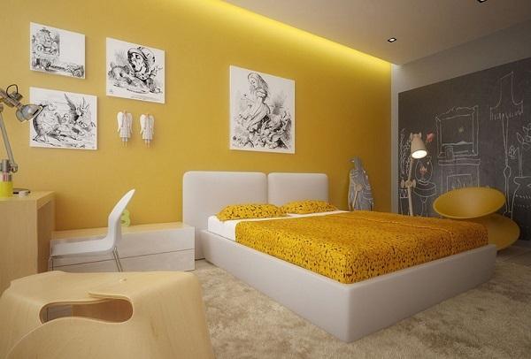 Крашенные желтые стены