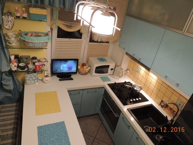 Кухня буквой П в хрущевке