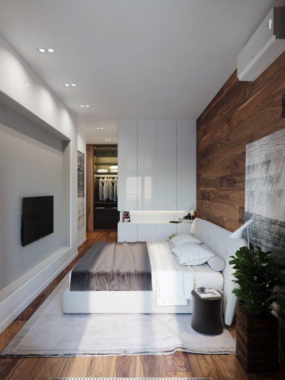 Ламинат на стене в минимализме