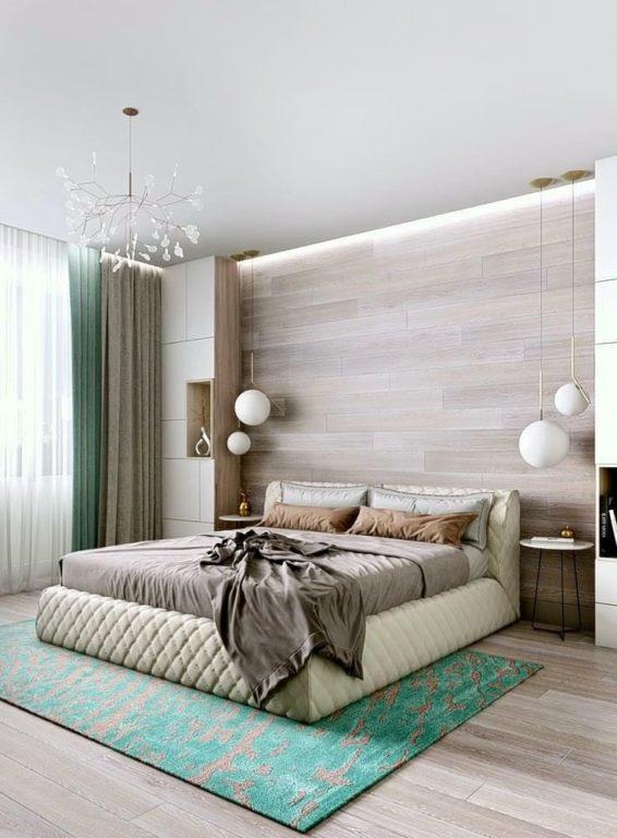 Ламинат на стене в современной спальне