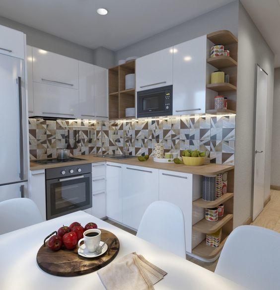 Маленькая угловая кухня с открытыми полками