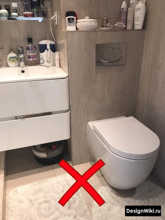 Места хранения в ванной совмещенной с туалетом