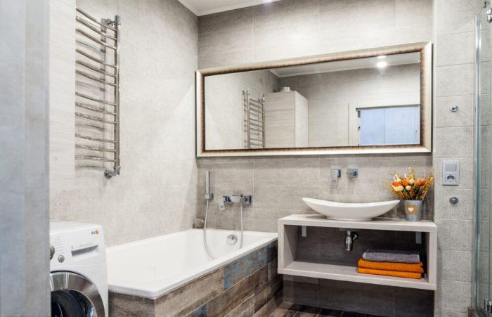 Модный современный дизайн ванной совмещённой с туалетом