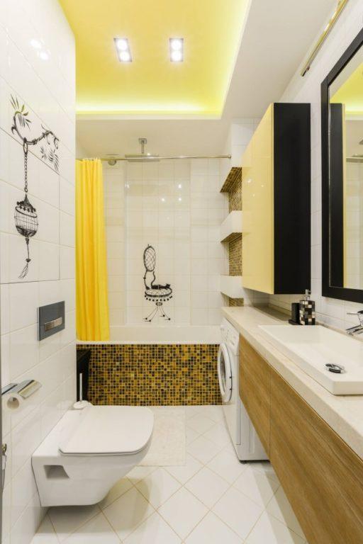 Модный современный интерьер ванной совмещенной с туалетом