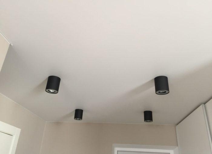 Натяжной потолок в прихожей светильники цилиндры