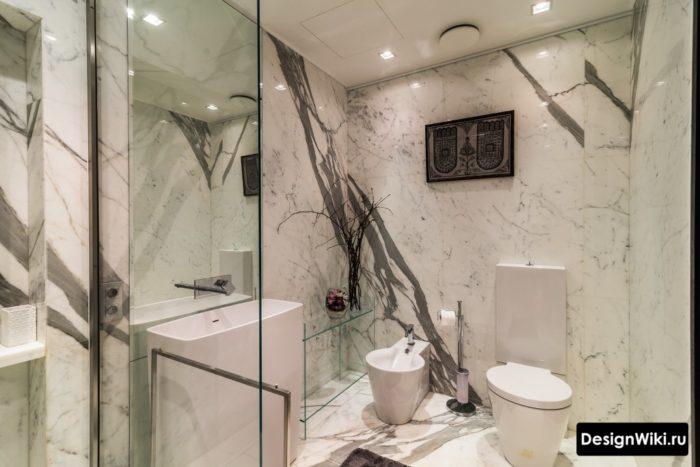 Отделка стен ванной настоящим мрамором
