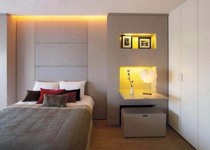 Пастельный серо-коричневый цвет стен в спальне