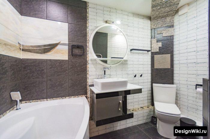 Плитка белый кирпич в ванной