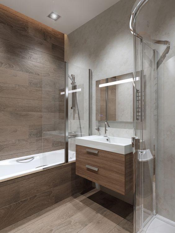 Плитка под дерево на полу и стенах ванной #дизайнинтерьера #дизайнванной