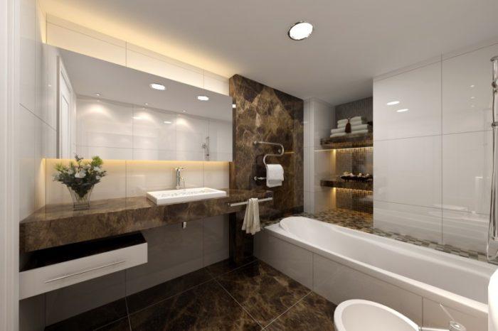 Плитка под коричневый мрамор в дизайне совмещённой ванной