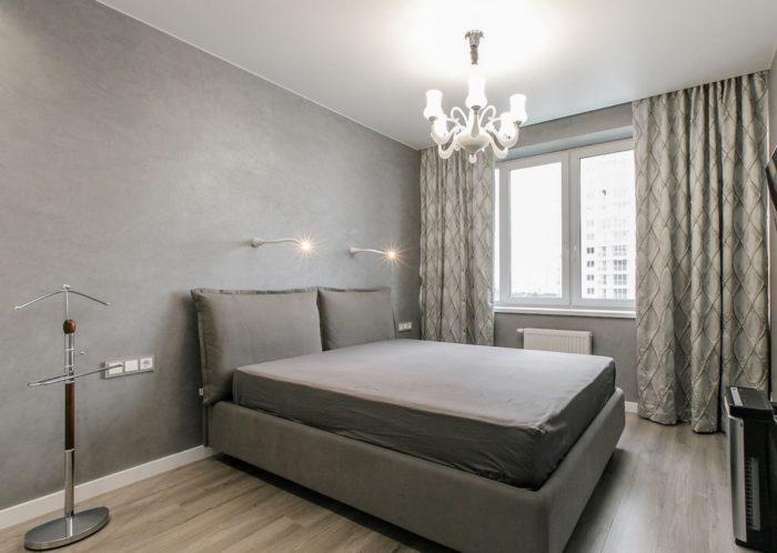 Серые обои минимализм в спальне