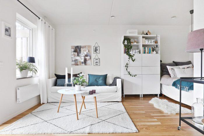 Скандинавский дизайн маленькой квартиры студии