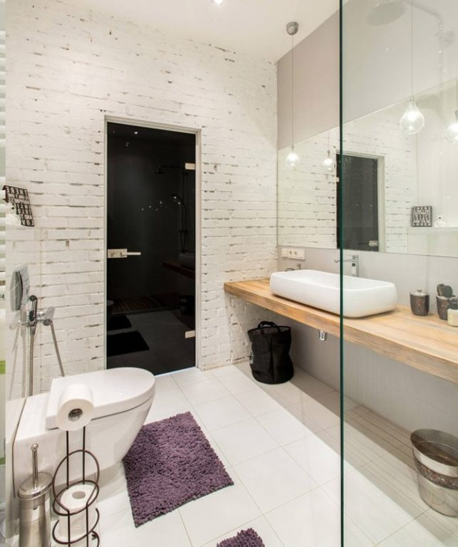 Скандинавский дизайн совмещённой ванной #интерьер #ваннаякомната