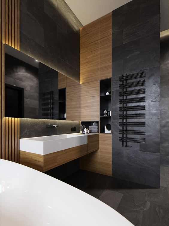 Совмещённая с туалетом ванная в стиле лофт