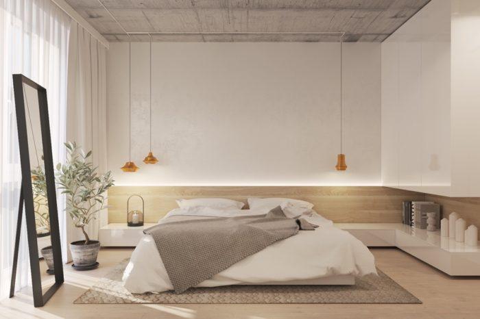 Современная спальня в стиле лофт-минимализм