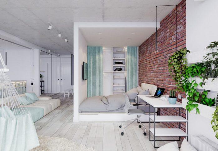 Современный крутой дизайн квартиры-студии