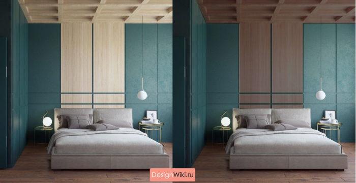 Современный стиль спальни в трёх цветах