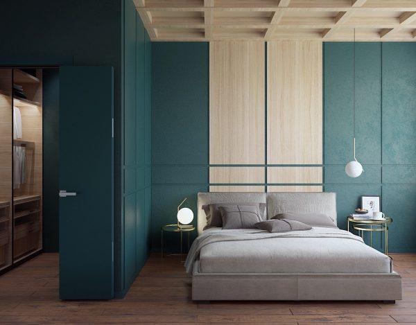 Современный стиль спальни в четырёх цветах