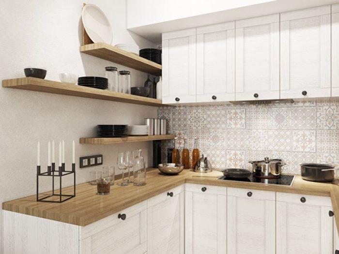 Сочетание белого цвета и дерева в дизайне кухни