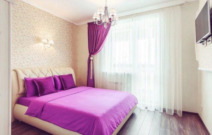 Сочетания цвета стен и штор в спальне