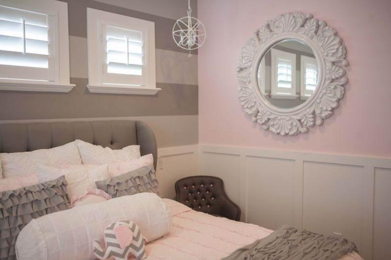 Спальня в бледно-розовом и сером