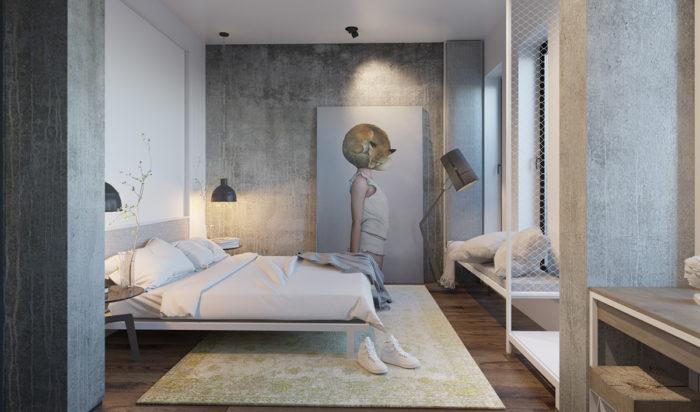 Спальня в сочетании лофта и минимализма