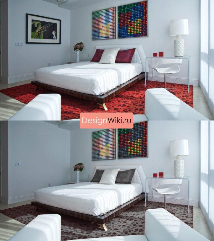 Спальня до и после лишних цветов
