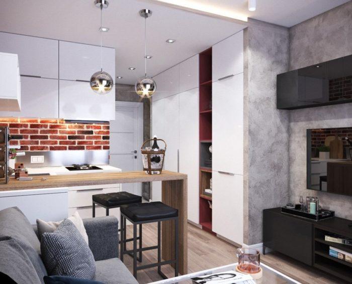 Стильная бело-серая квартира-студия