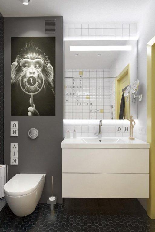 Стильный #интерьер совмещенного санузла #ванная
