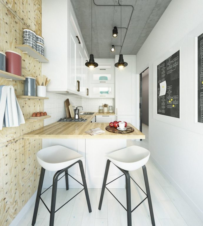 Стильный современный дизайн прямоугольной квартиры студии