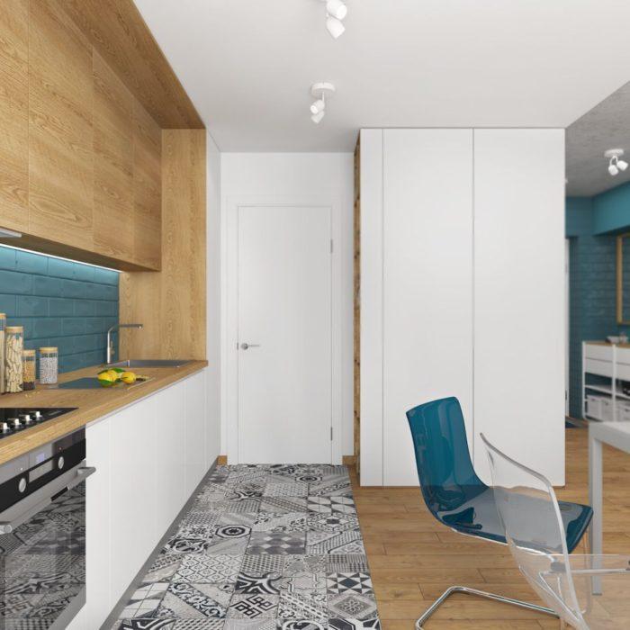 Стык плитки и паркета в зоне кухни