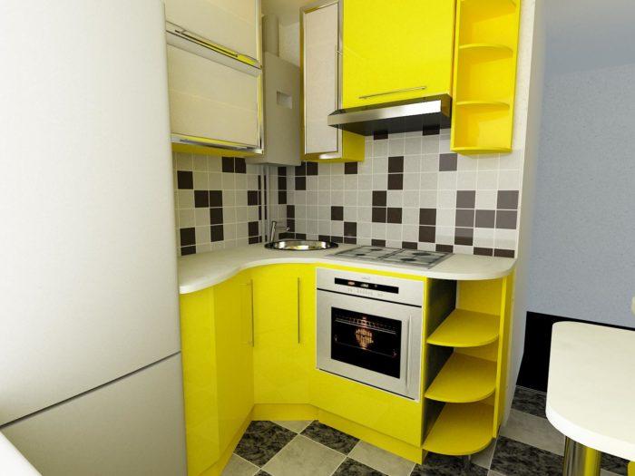 Угловая кухня в хрущевке со сглаженными углами
