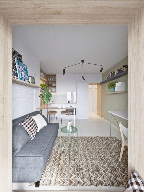 Узкая вытянутая квартира-студия(современная)
