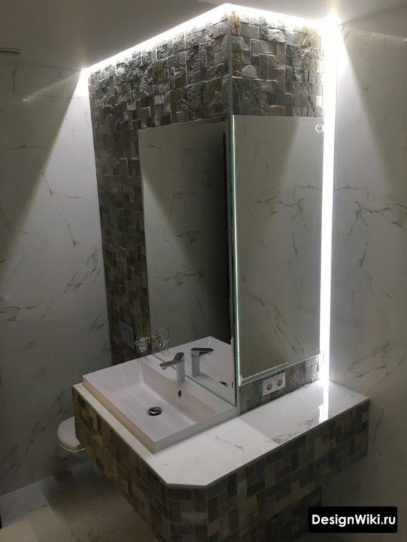 Фактурная плитка кубиками в ванной