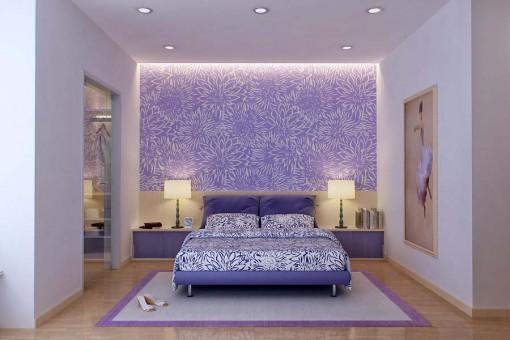 Фиолетовая стена с подсветкой за кроватью