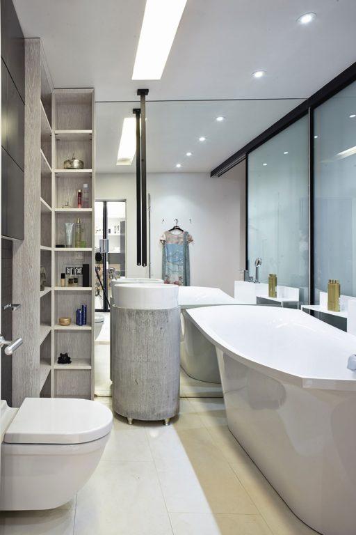 Хай-тек дизайн ванной совмещённой с туалетом