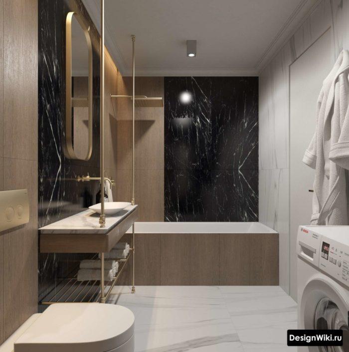 Черная и коричневая плитка в совмещенной ванной