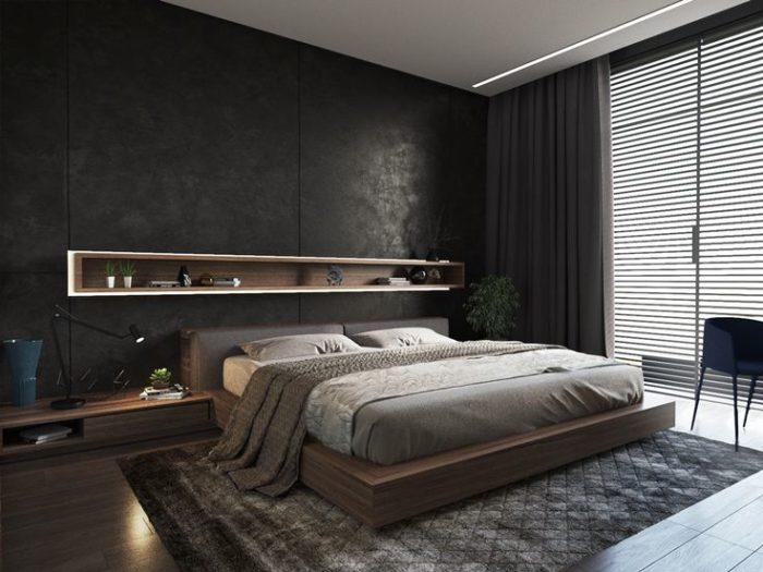 Чёрная декоративная штукатурка за кроватью