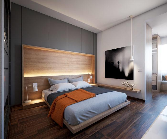 Шкафы и подсветка за кроватью