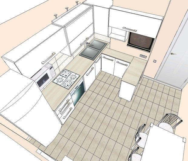 Г-образный кухонный гарнитур для маленькой кухни