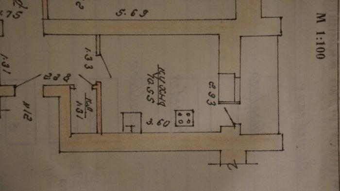 Планировка кухни с прямым гарнитуром