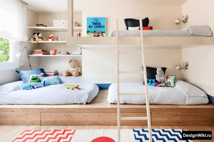 Детская для мальчиков с кроватью чердаком в скандинавском стиле