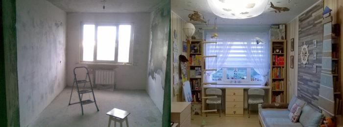 Детская до и после ремонта
