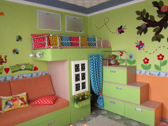 Дизайн детской для двух детсадовцев