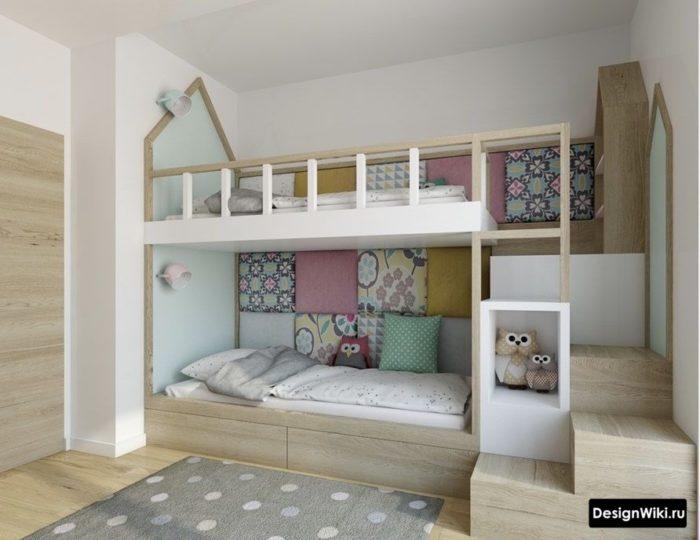 Красивая двойная кровать в скандинавском стиле