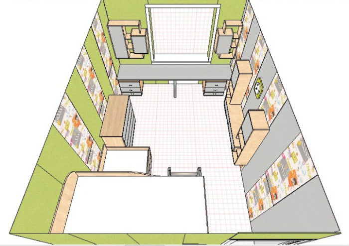Планировка детской комнаты для двух разнополых детей