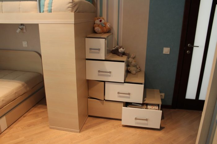 Ящики в ступеньках на двухуровневую кровать