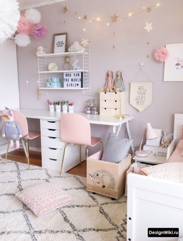 Пастельный серый и розовый - скандинавский стиль для двух девочек